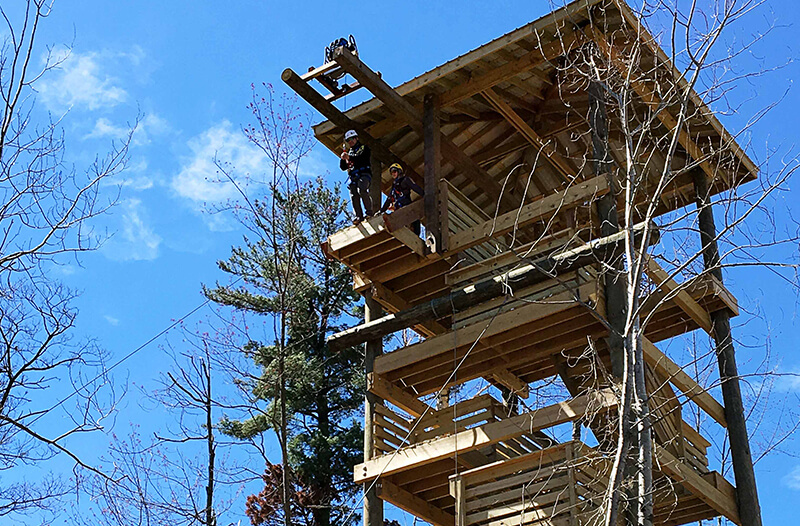 Guest jumps off ziplining platform