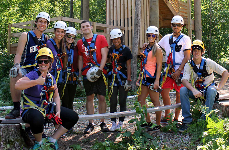 Team building group zipline tour